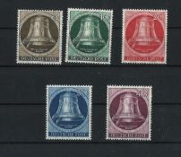 BRD Berlin, 1951, MI 75 - 79, Kloppel links, postfrischBerlin, 1951, MI 75 - 79, Kloppel left,