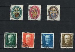 Deutsches Reich 1926, MI 398y-399y- 01y, dt. Nothilfe, und 1927, Mi 403 - 406, gestempeltGerman