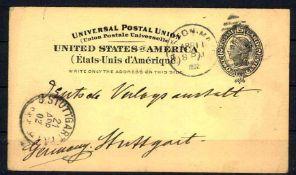 USA 1902, Ganzsache, gelaufen nach Stuttgart,USA 1902, postal stationery, used to Stuttgart,- - -