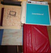 1 Lot Briefmarken-Zubehör, dabei ein paar Vordruck-Alben: Belgien, Deutschland, Schweiz etc., dazu