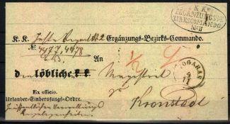 Ungarn 1859, Vorphilatelie - Brief von Fogaras nach Kronstadt. Absender: K.K Ergänzungs-Bezirks-