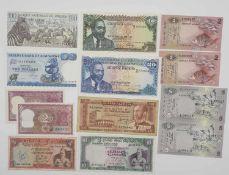 Konvolut Banknoten Asien/Afrika, bestehend aus: 2 x Indien 2 Rupees, unc., Sri Lanka (Ceylon) 2 x