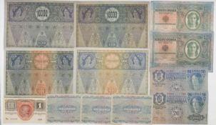 Österreich-Ungarn 1902/22, Lot Banknoten, bestehend aus: 2 x 1918 DÖ 10.000.- Kronen, 2 x 1902 DÖ