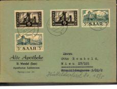 Saar 1952, Mi.-Nr. 322 und 327 (jeweile 2x) auf Brief.Saar 1952, Michel no. 322 and 327 (each 2x) on