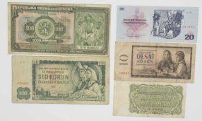 Tschechoslowakei 1920/70, kleines Lot Banknoten, bestehend aus: 1 x 100 Korun (1920), 1 x 100