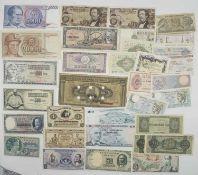 Lot Banknoten, dabei Kroatien, Jugoslawien, Island, Griechenland, Kolumbien, Chile, Frankreich,