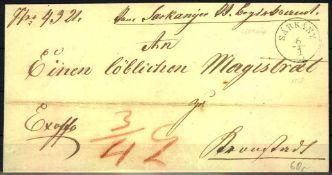 Ungarn 1857, Vorphilatelie - Brief von Sarkany nach Kronstadt. Mit Ankunftsstempel.Hungary 1857,