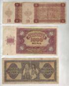 Kroatien 1941/43, kleines Lot Banknoten, bestehend aus 2 x 10 Kuna 1941, 1 x 100 Kuna 1943 und 1 x