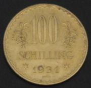Austria Republic, 100 shillings gold coin 1931. condition vz