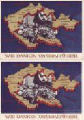 German Reich 1939, 2 x postal stationary 279, 1 x used Chemnitz 3.5.39, 1 x mint never hinged.