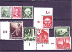 German Reich, Michel - no. 604/05, 689/90, 701, 714/75, 748/49, 714715. All mint never hinged.