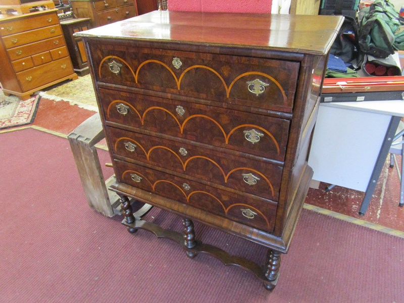 Lot 246 - 17C oyster veneered and inlaid chest on stand of small proportions