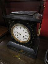 Lot 295 - Slate mantle clock by J W Benson of London - Working