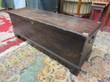 Lot 288 - Long antique stained pine coffer