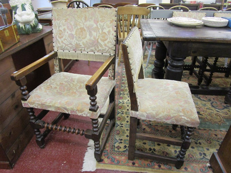 Lot 309 - Set of 8 oak & bobbin turned upholstered dining chairs to include 2 carvers
