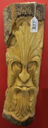 Lot 327 - Green man carving sprouting leaves from mouth