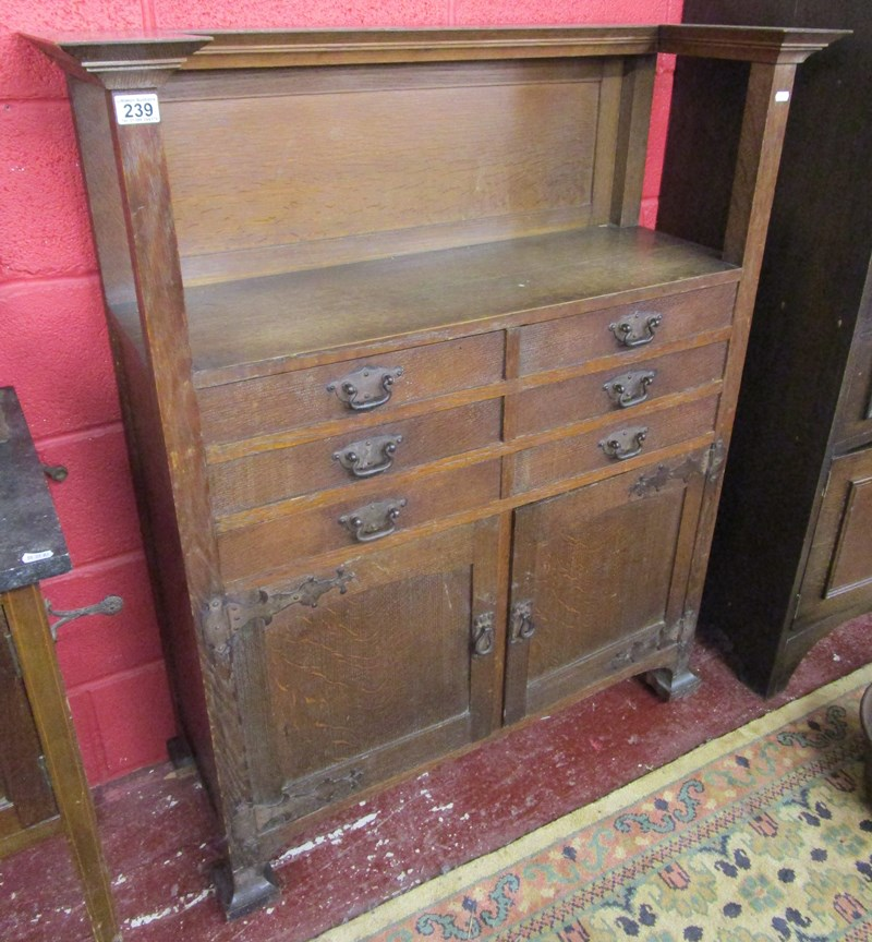 Lot 239 - Interesting Arts & Crafts oak cabinet in the style of Charles Robert Ashbee (Guild and School of