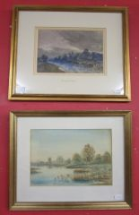 Lot 269 - Watercolour - Tower Hill, Bidford on Avon by John Keeley RBS (1849 to 1930) & another