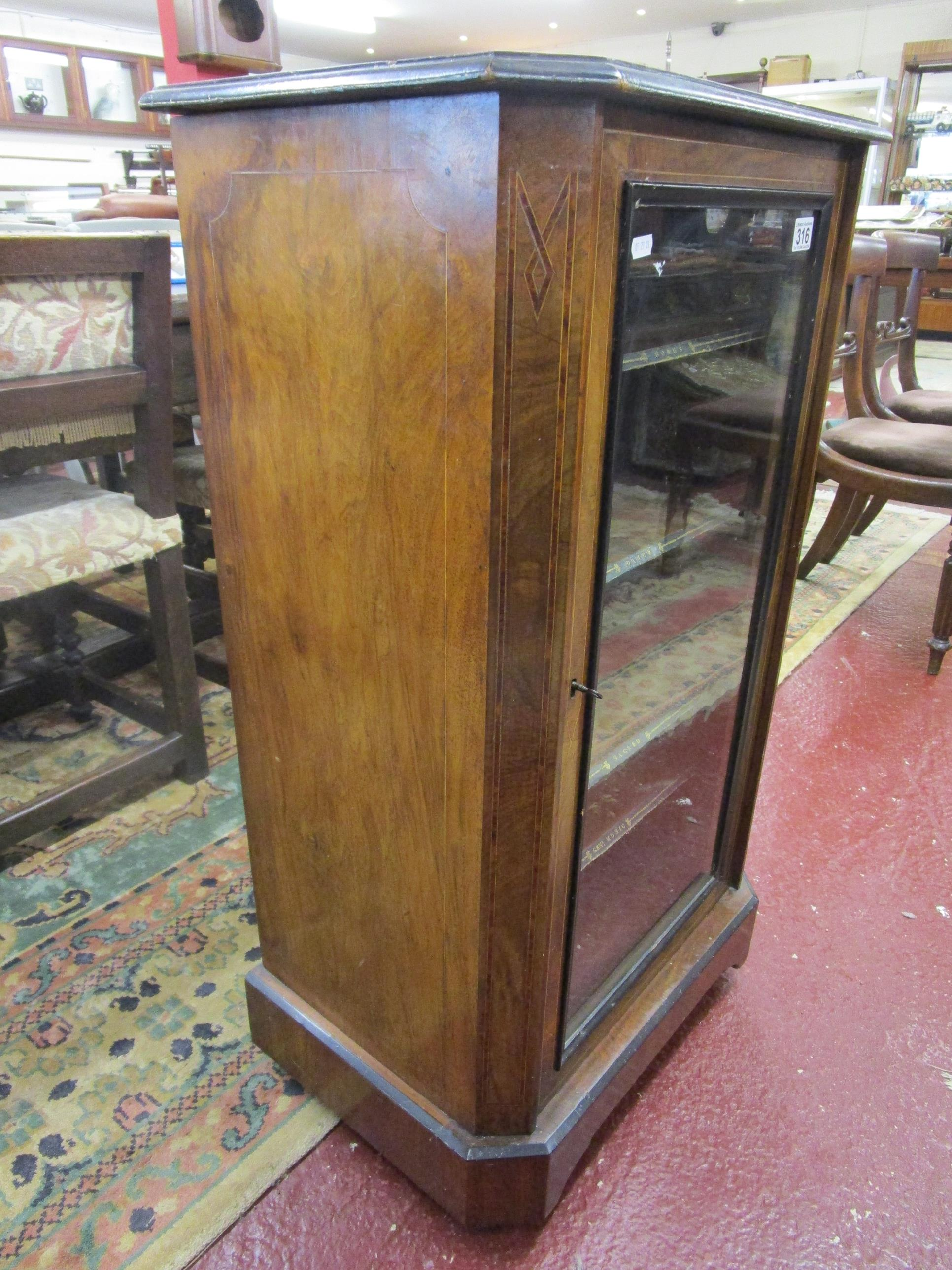 Lot 316 - Victorian burr walnut inlaid & glass fronted music cabinet on castors
