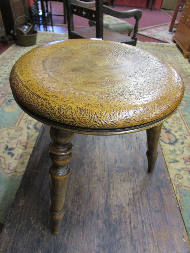Lot 230 - Poker work tripod stool with dragon motif