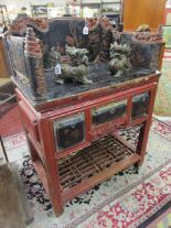 Lot 280 - Oriental antique lacquered & galleried desk table