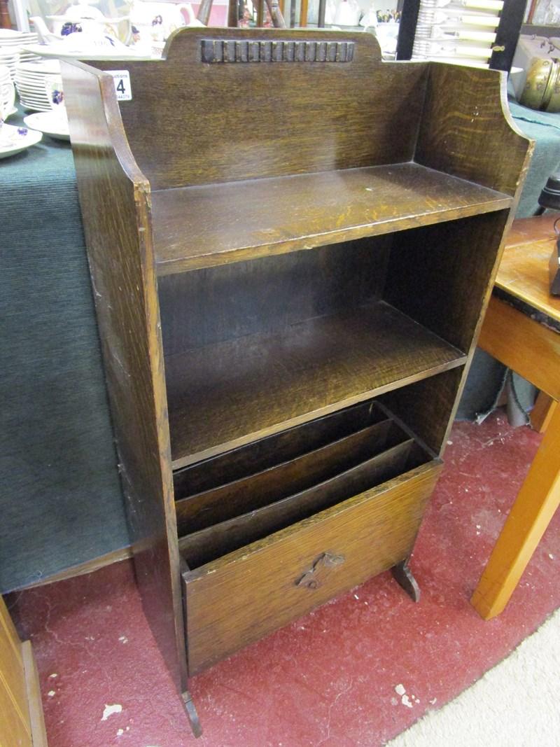 Lot 194 - Oak bookcase with tilting magazine rack