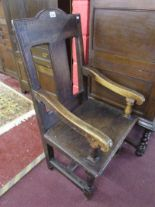 Lot 244 - Early Wainscot style armchair