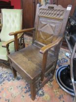 Lot 329 - Early oak Wainscot chair