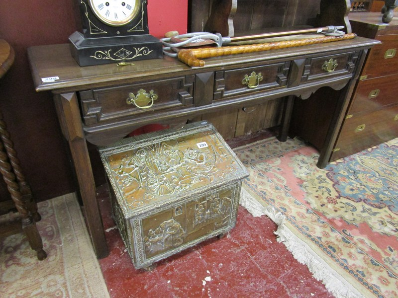 Lot 298 - Oak 3 drawer hall table