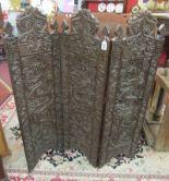 Lot 303 - Oriental carved 3 fold screen
