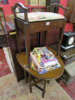 Lot 292 - Piano stool & small oak barley-twist gateleg table