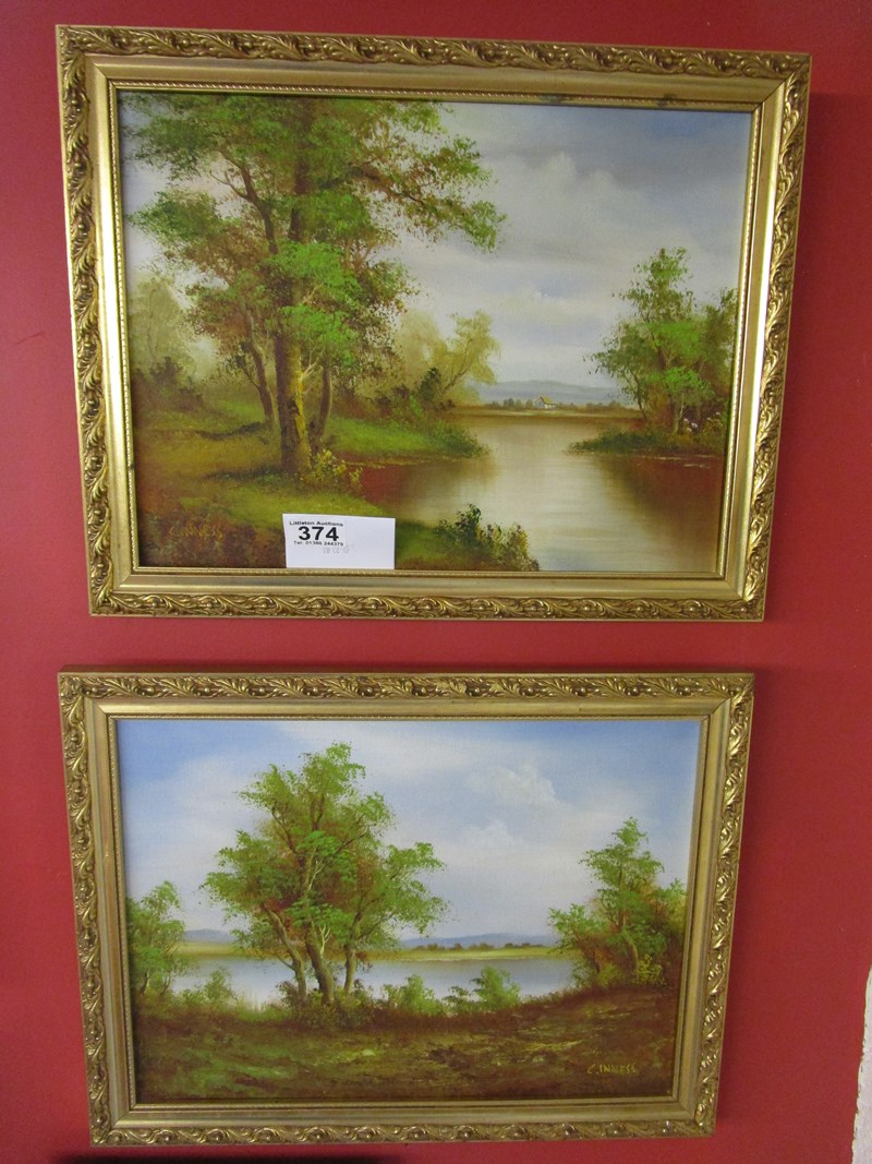 Lot 374 - Pair of oils signed C Inness