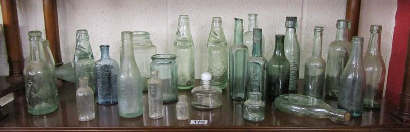 Lot 170 - Shelf of old glass bottles