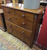 Lot 285 - Victorian mahogany chest of 2 over 3 drawers