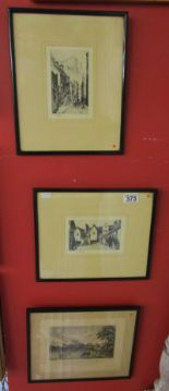 Lot 375 - 3 etchings to include 2 signed