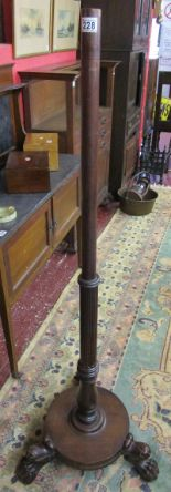 Lot 228 - 19C mahogany stand with claw feet