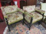 Lot 331 - Pair of antique Jacobean style armchairs