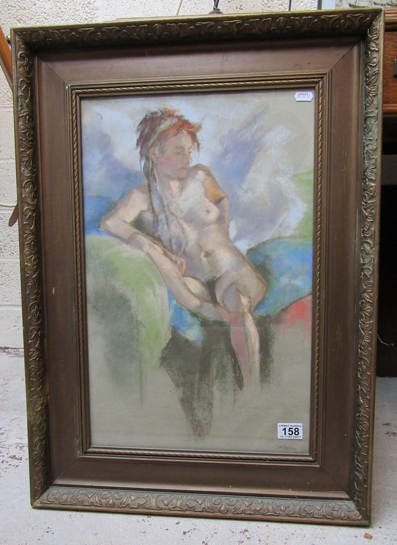 Lot 158 - Pastel of nude signed D H Pasco - 35cm x 55cm
