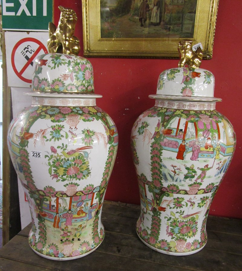 Lot 235 - 2 very large Chinese urns with covers H: 90cm & 84cm
