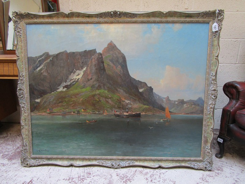 Lot 157 - Ludvig Richarde (Swedish, 1862-1929) - 'Norwegian Fjord', oil on canvas - Signed and gilded