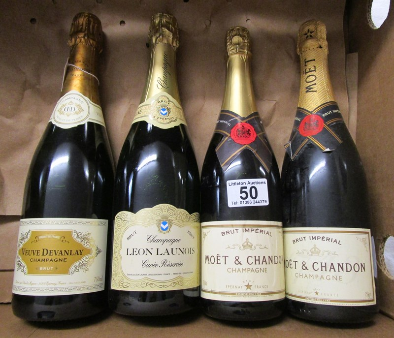 Lot 50 - 4 bottles of Champagne to include Moet