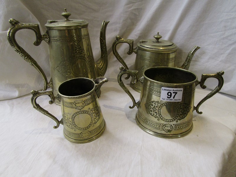 Lot 97 - Silver plate tea & coffee service marked M & W