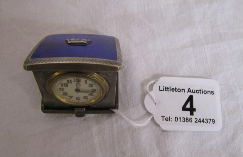 Lot 4 - Silver & enamel travel clock