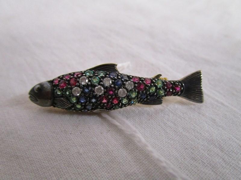 Lot 12 - Diamond, ruby, emerald & sapphire salmon brooch
