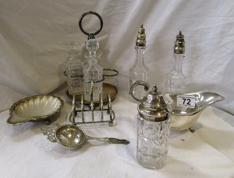 Lot 72 - Collection of silver plate to include cruet with silver mounted bottles