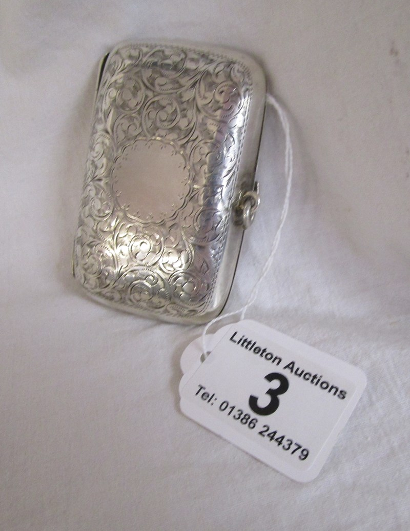 Lot 3 - Silver cigarette case - Birmingham 1902