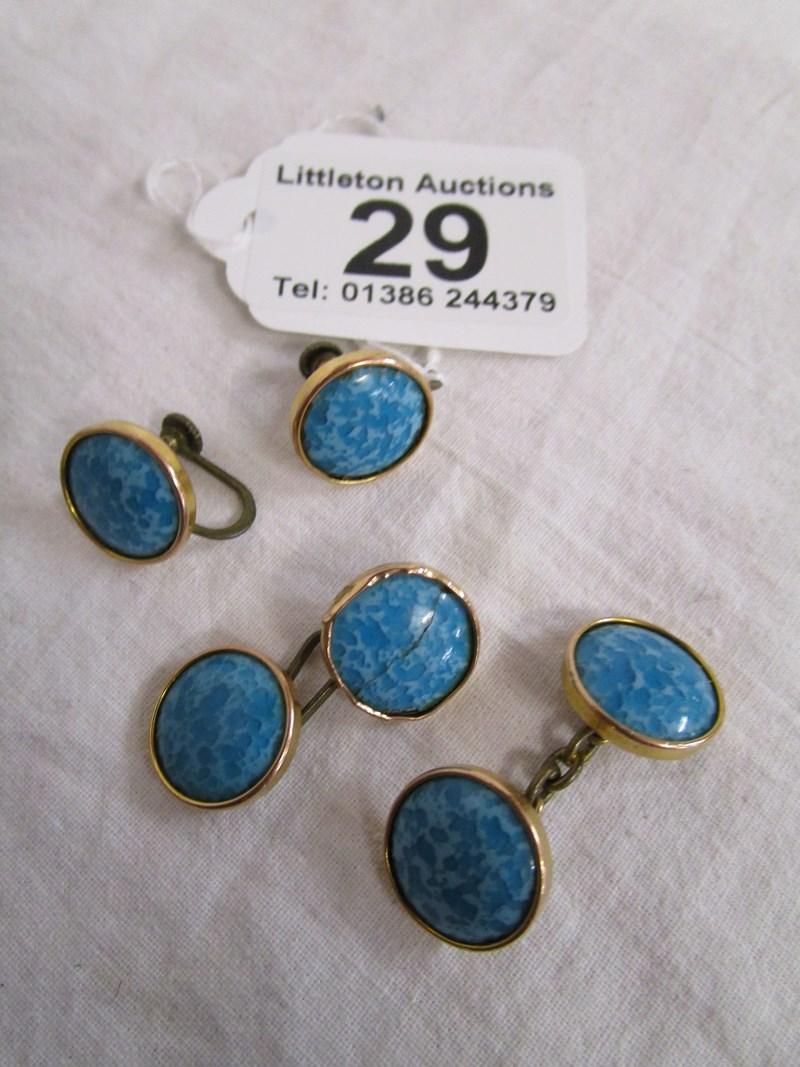 Lot 29 - Gold Ruskin cufflinks & earrings