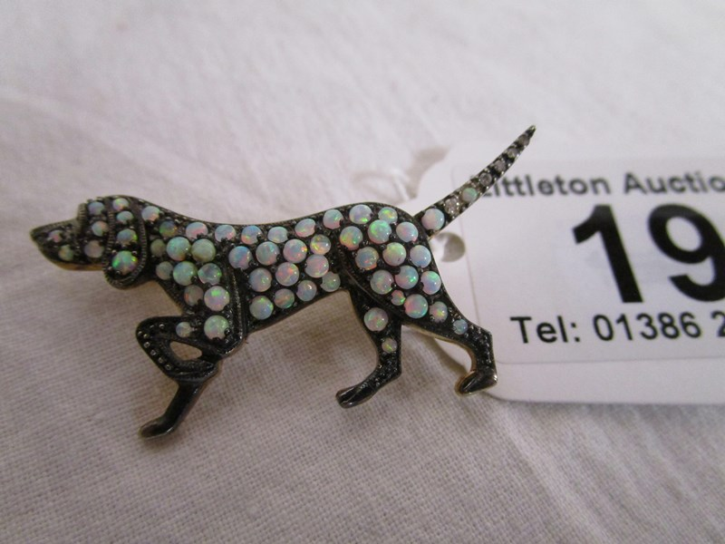 Lot 19 - Opal & diamond gundog brooch