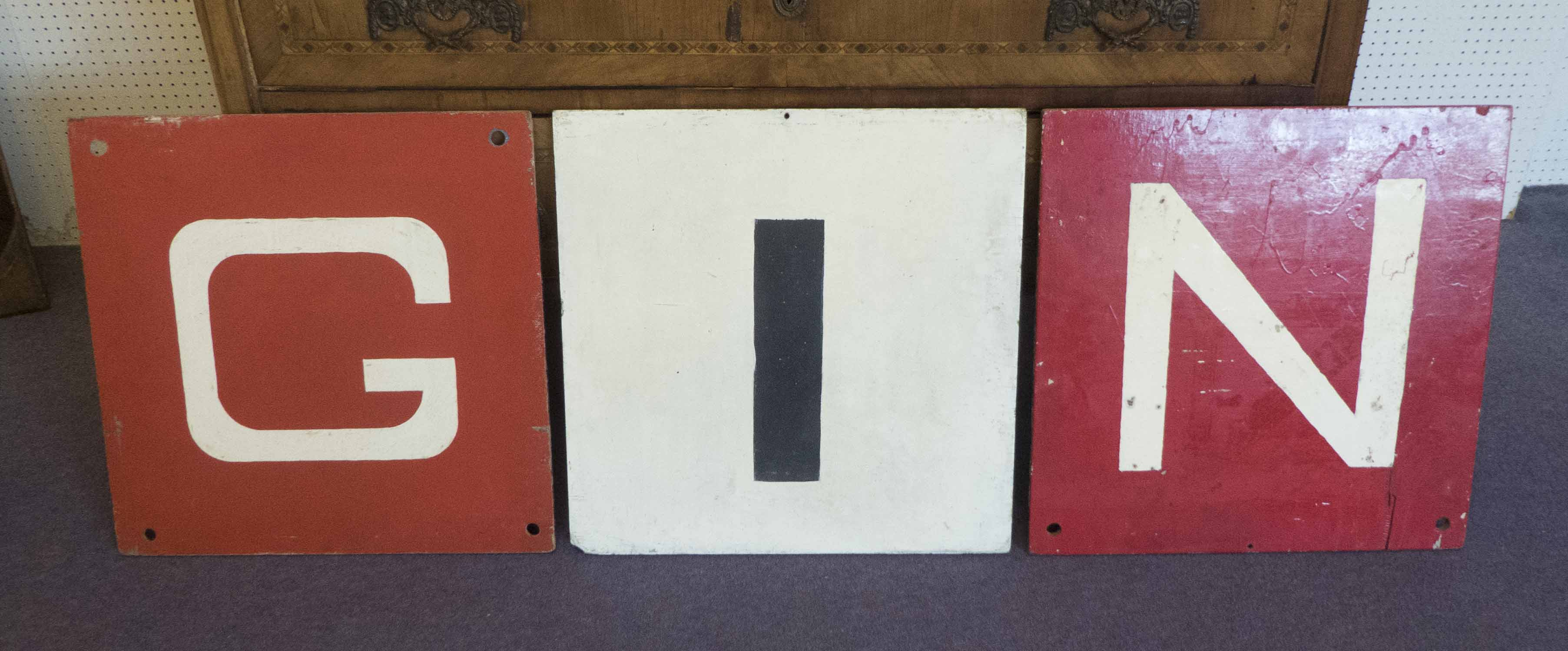 Lot 9 - MARINE MARKER CARDS, set of three, vintage 20th century, spelling 'Gin', painted plywood,