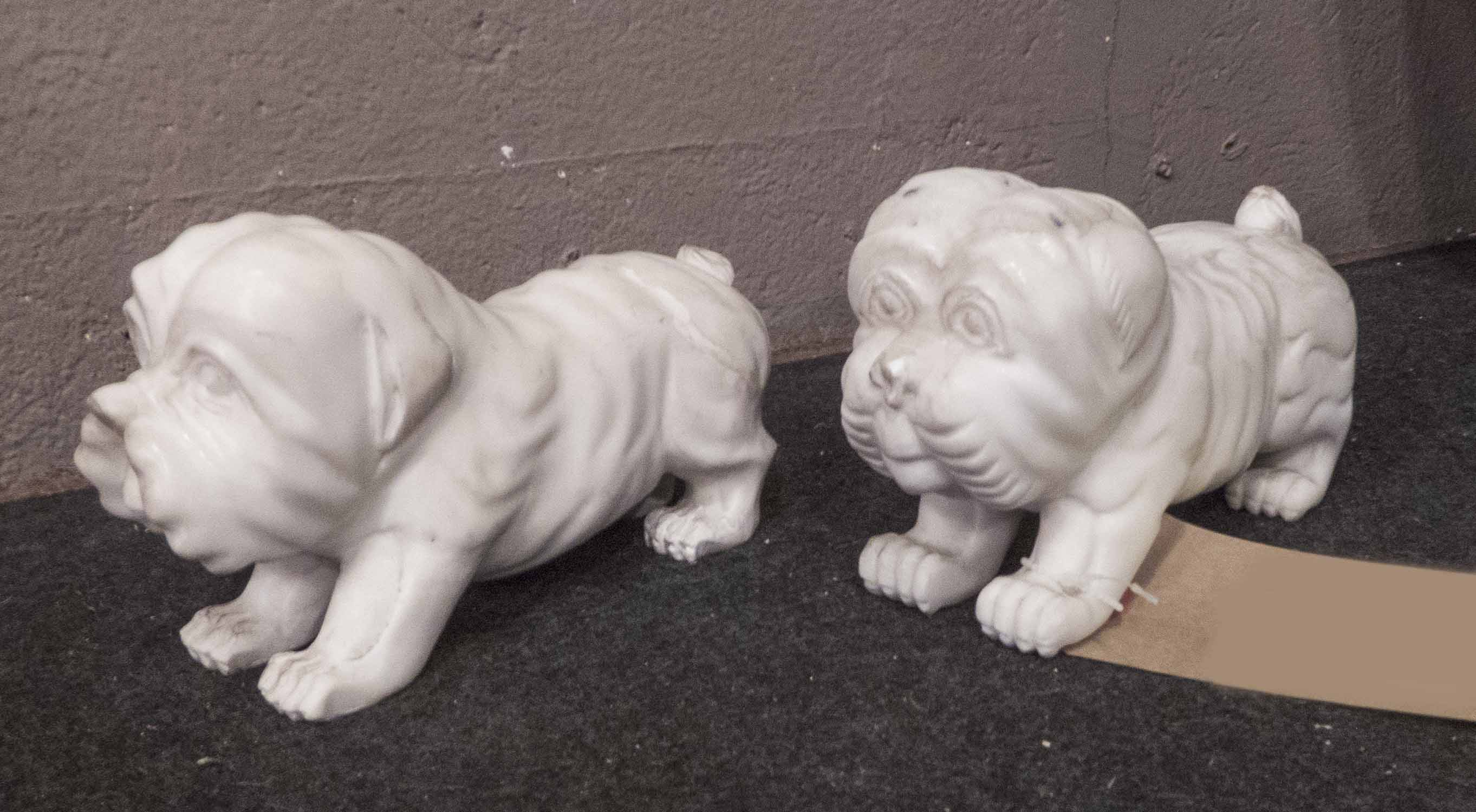 Lot 51 - MARBLE DOGS, a pair, 19th century style, 13cm H.